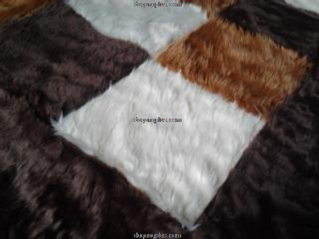 Karpet Bulu Halus Motif Kombinasi Putih - Coklat - Hitam